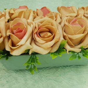 Esküvői selyem tartós virág + kerámia